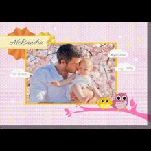 Sówki pink obraz do pokoju dziecka